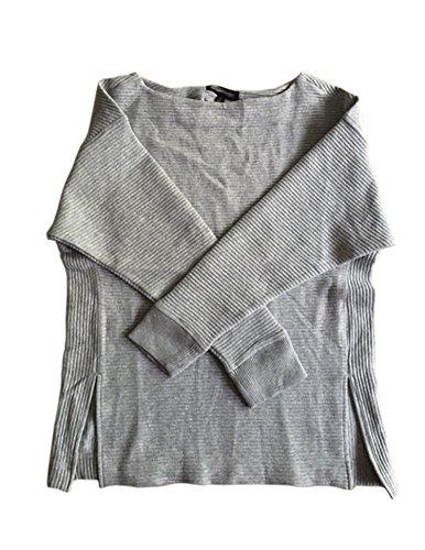 banana-republic-womens-grey-black-ribbed-knit-top-pullover-sweater-m-grey