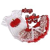 hibote vestidos ceremonia ni�a bebe cumplea�os del mameluco Romper + Vestido de Tutu + Banda de cabeza + Zapatos 4 pcs, 12-18 Meses