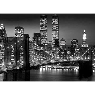 cheap prints posters new york city manhattan night skyline huge art poster print 39x55. Black Bedroom Furniture Sets. Home Design Ideas