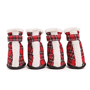 East Side Collection Polyester Holiday Tartan Dog Boots, Large, Red