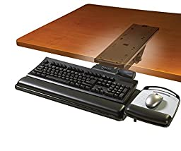 3M Easy-Adjust Keyboard Tray with Adjustable Platform, 17-3/4 Inch Track (AKT151LE)