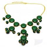 Bubble BIB Statement Fashion Necklace Beads Circular Pendants Green