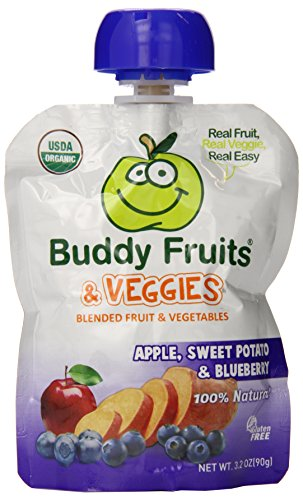 Buddy Fruits Blended Fruit and Veggies, Apple, Sweet Potato and Blueberry, 5.2 Pound (Pack of 14) - 1