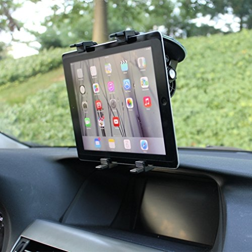 360 Degree Rotatable Windshield Car Mount Window Tablet Holder for Microsoft Surface, Pro 2, 3 - Verizon Ellipsis 7, 8 - LG G Pad 7.0, 8.0, 8.3, 10.1, G Pad F, PadX - Sony Xperia Z4 Z3 Z2 Tablet