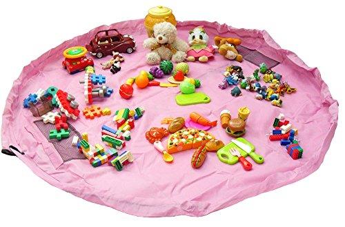 RISACCA 大容量 おもちゃ 収納 袋 + 小分け袋 簡単ラクラク おかたづけ 特大 150cm マット 便利 グッズ 男の子 女の子 (ピンク)