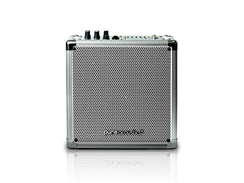 Pure Acoustics Mcp-50 Portable Bluetooth Entertainment Medium Sized Speaker System With Built-In Rechargeable Battery - Includes Wireless Mic - Silver Grille