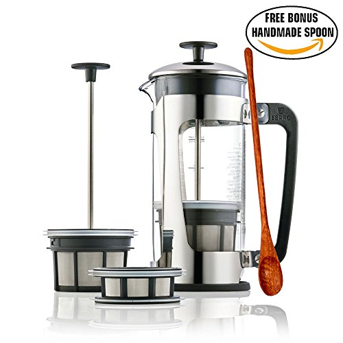 Espro Press P5 - French Press Coffee Press with Thick & Durable SCHOTT Duran glass + Bonus Wooden Stirring Spoon (with Coffee Filter, 18 oz)