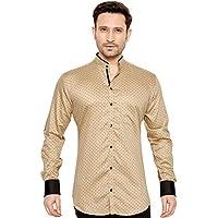 Globalrang Men's Polka Dots Printed Casual Stand Collar Shirt