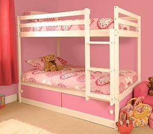 Girls Slide Storage White Wooden Bunk Bed with Pink Sliding Doors