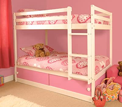 Girls Slide Storage White Wooden Bunk Bed with Pink Sliding Doors with Mattresses