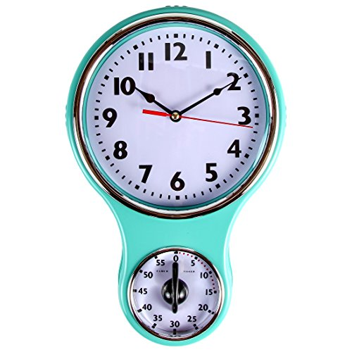 Lily's Home® Retro Kitchen Timer Wall Clock, Bell Shape Red. (Turquoise)