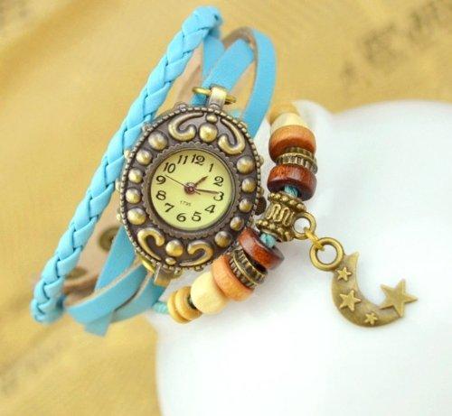 Kano Bak(Tm) Vintage Wrap Around Leather Retro Weave Wrap Quartz Bracelet Woman Unisex Star Moon Gift Watch Sky Blue
