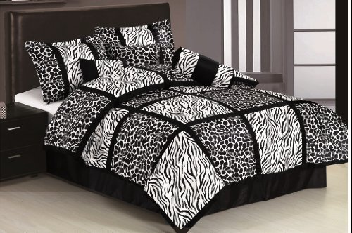 Chezmoi Collection 7 Pieces Black White Micro Fur Zebra Giraffe Safari Patchwork Comforter Set Full Size front-15371