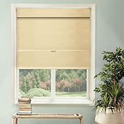 Chicology Cordless Magnetic Roman Shade, Privacy Fabric, Thermal, Mountain Almond, 27\