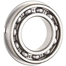 NSK 6000 Series Deep Groove Ball Bearing, Single Row, Open, With Snap Ring, Pressed Steel Cage, Normal Clearance, Metric