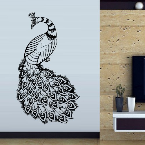 Wall Decal Art Decor Decals Sticker Peacock Bird Beauty Tail Feather Bedroom Design Mural (M921) front-829443