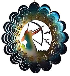 Great World 12 Inch Archer With Bird Background Zephyr Spiral Wind Spinner