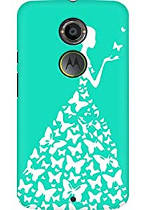 AMEZ designer printed 3d premium high quality back case cover for Moto X 2nd Gen. (green blue white girl princess)