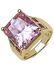 Suraabi 11.58CTW Pink Cubic Zirconia & Red Cubic Zirconia 14K Yellow Gold Plated Brass Ring For Women