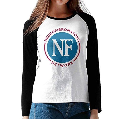 XJBD Women's N F Circle Logo Long Sleeve Blended Baseball Tee Size L