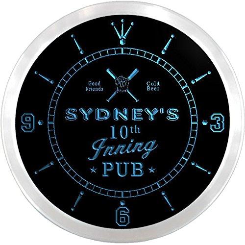 Ncpo0843-B Sydney'S Baseball 10Th Inning Pub Beer Bar Led Neon Sign Wall Clock