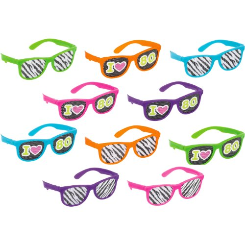 Totally 80's Printed Glasses - Pack of 10
