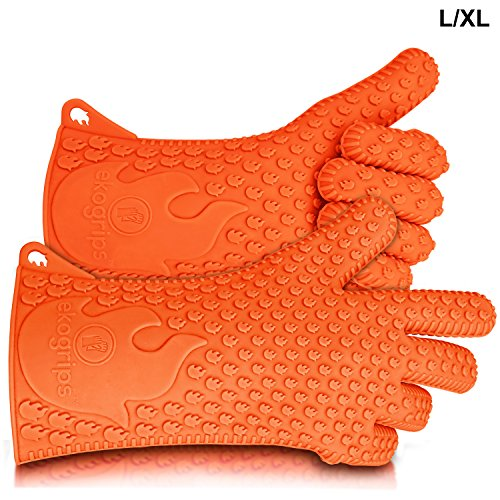 Ekogrips BBQ Grilling Gloves, Most Versatile Oven Mitts & Hot Pads. Lifetime Replacement! Loved By Andrew Zimmern & Martha Stewart, Insulated, Waterproof. Total Finger, Hand, Wrist Protection. 3 Sizes (Clean Bbq Gloves Free Grilling compare prices)