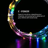 E-foxer Christmas tree Lights USB string lights 39.6 Feet 100 LED waterproof Festival wedding party birthday decoration starry Copper Wire Lights indoor/outdoor (Colorful)