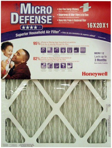 Honeywell CF112D1620/U MicroDefense MERV 12 Superior Household 1 Inch Air Filter, 4-Pack (Honeywell Microdefense compare prices)