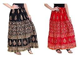 Rangsthali Cotton Gold Printed long Straight Skirt For women/ Girl (Buy 1 Get 1)