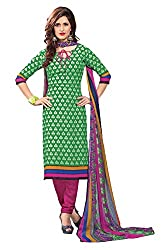 Nazaquat Green Printed Crepe Unstitched Dress Material