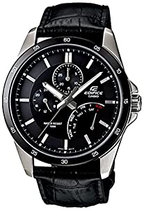 Casio Men's EF341L-1AV Black Leather Quartz Watch with Black Dial