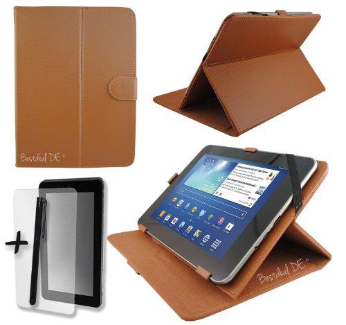 """Braun PU Lederner Tasche Case Hülle für Modecom FreeTAB 9702 IPS X2 9.7"""" Zoll Tablet PC + Displayschutzfolie & Stylus"""