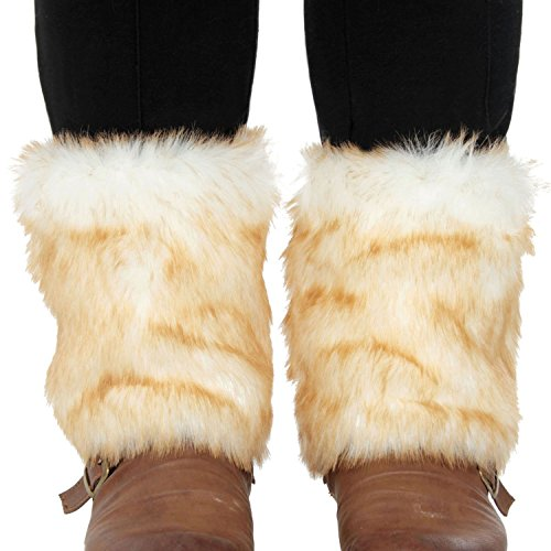 Simplicity Faux Fur Leg Warmers Ladies Boot Sleeve Covers Cosplay Party (White Fluffy Leg Warmers)