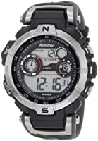 Armitron Men's 408231RDGY Silver-Tone and Black Chronograph Digital Sport Watch from Armitron
