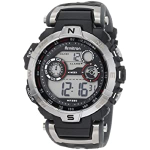 Armitron Mens 408231rdgy Silver Tone And