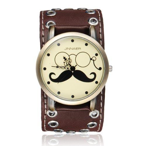 Punk Glasses Mustache Leather Quartz Analog Bracelet Men Women Watch. (Target Watches For Men compare prices)