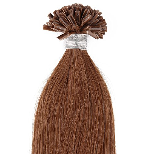 "Beauty7 18"" 20"" 22"" 24"" Pre Bonded Nai U Tip Real Remy Human Hair Extensions 100G 100S 1G/S #8 Light Brown (24"" 1G/S) front-742162"
