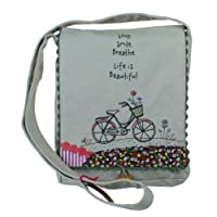 "Natural Life Stop. Smile. Breathe. Life Is Beautiful. Messenger Bag, 10"" X 8"" X 20"" by Natural Life"