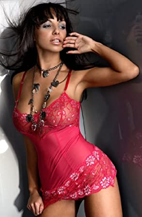 Sensual Lace Slip Set with Matching Thong. Available in Black or Pink
