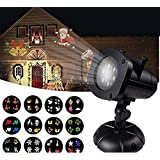 12W Christmas Projector Lights, Jeniulet 2019 Newest Version 12 Patterns Waterproof Decorations Indoor LED White Moving Light Snowflake Lamp for Holiday Party (Color: Black, Tamaño: 13.4