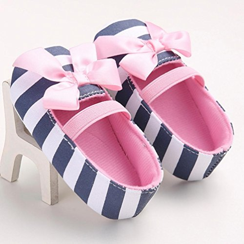 Ecosin® Baby Girl stripe Bowknot Shoes Toddler Soft bottom toddler shoes (11/0-6months)