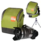 First2savvv high quality anti-shock green Nylon camera case bag for OLYMPUS SP-820UZ + camera tripod