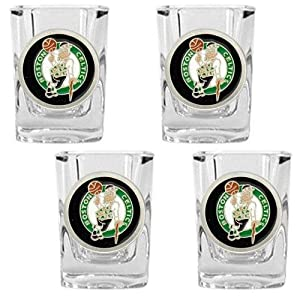 NBA Boston Celtics Four Piece Square Shot Glass Set by Great American Products