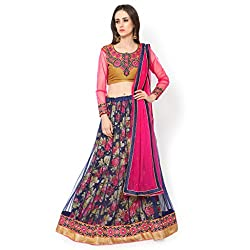 Bhelpuri Women Navy Blue Soft Net Lehenga Choli