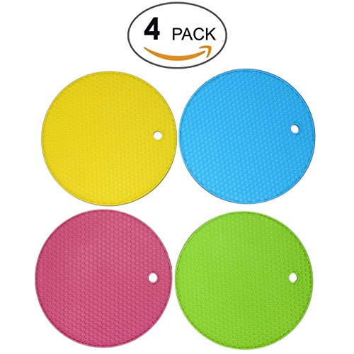 LUXEHOME 4-Pack Silicone Heat Resistant Cup Insulation Coasters, Pot Holder, Trivet Mat, Kitchen Mat Set