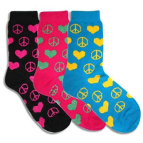 Peace & Hearts Multi-colored 3 Pack Socks