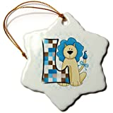 3dRose Orn_62863_1 L Is For Lion In Blue For Boys Baby And Kids Monogram L In Patchwork Prints Snowflake Ornament...
