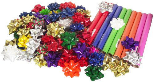 Berwick All Occasion Gift Wrapping Set, Includes 12 Rolls of Mini Gift Wrap and 74 Coordinating Peel 'n Stick Gift Bows