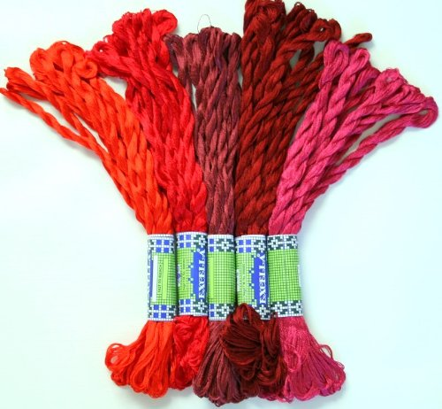 New ThreadNanny 50 Skeins of Silky SATIN Hand Embroidery Cross Stitch Floss Threads - RED TONES